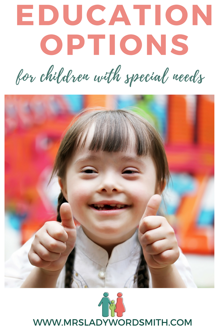 Do you have a young child with special needs? Perhaps you're wondering how best to educate them. Learn about 4 educational opportunities. #specialneedsmom #specialneedsteaching #resources #chiildren #child #kid #parenting
