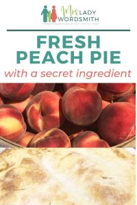 Juicy, fresh peaches make the best pie! You know you want some!! And this recipe has a secret ingredient. Best ever! #peachpie #peach #pie #recipe #summer #fall #thanksgiving #harvest #dessert