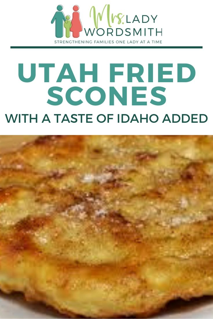 Have you ever had a Utah fried scone? They're heavenly! Take a peek at my recipe, which has a taste of Idaho added. #utah #idaho #scone #bread #recipe #fried