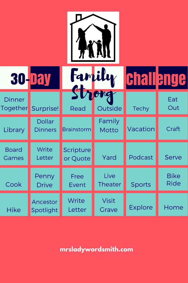 Want a strong family? We all do! Join us for a 30-day challenge full of simple, inexpensive things you can do each day as a family. #family #familygoals #familyideas #familyactivities #familytime #30daychallengesideas #30daychallengeslifestyle
