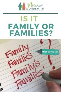 Is it Family or Families? How do you spell and punctuate these words? It's easy once you know. I explain the differences and include a free, one-page punctuation download you can keep as a handy reference. #family #families #grammar #punctuation #freedownload #freeprintable #free #printable #download #apostrophe