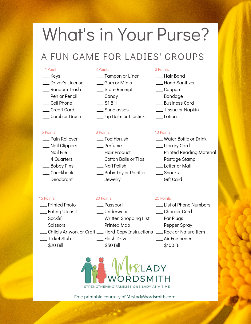 What's in Your Purse Game Free Printable #women #game #reliefsociety #freeprintable