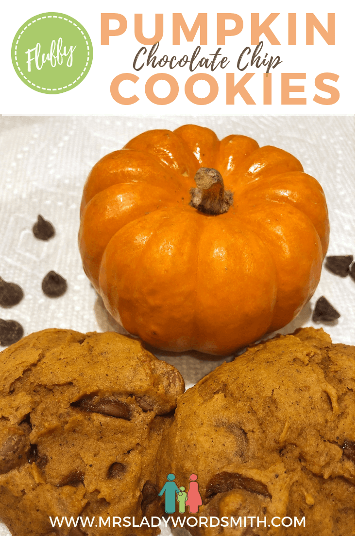 Fluffy pumpkin chocolate chip cookies are the perfect fall treat! Savor them while reading a surprise book I recommend inside. #pumpkin #cookies #chocolate #dessert #fall #autumn #halloween #bookreview #book #thanksgiving