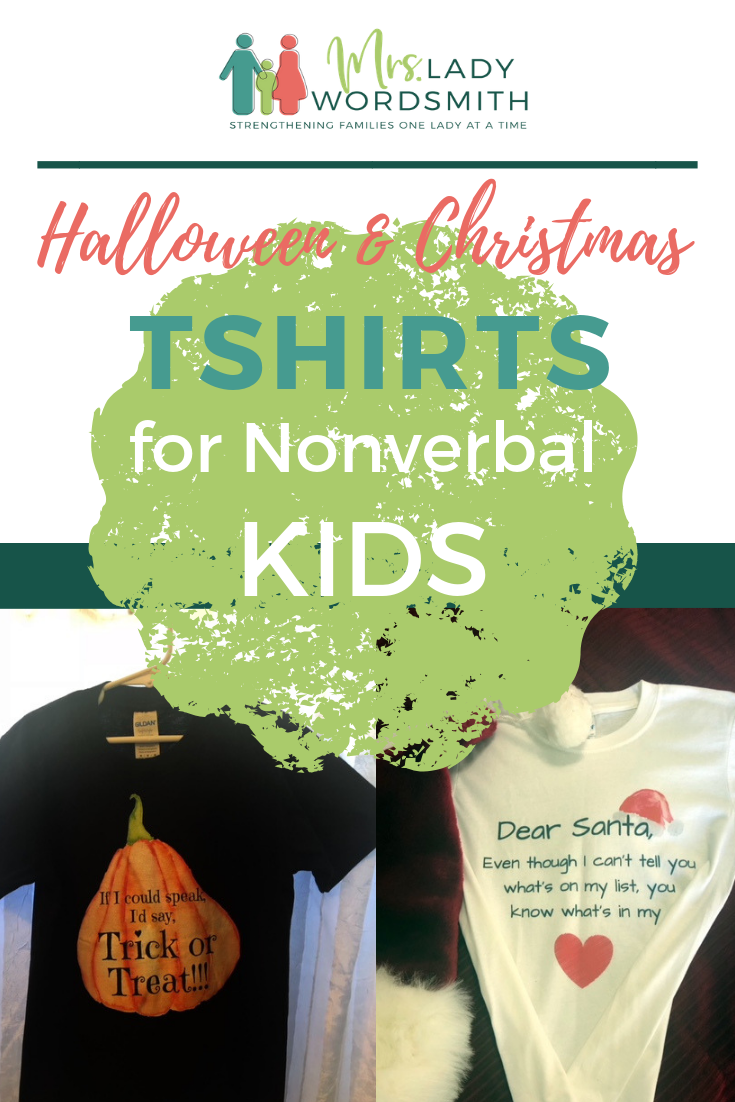 "Do you have a kid who is nonverbal? These festive #Halloween and #Christmas teachers will help your kid ""speak"" for themselves this holiday season. #autism #deaf #hearingimpaired #nonverbal #tshirts #kids #children #Santa #etsy"