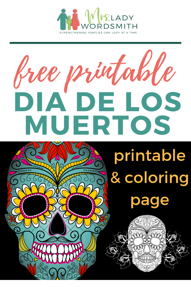 Looking for a free, festive way to decorate your home, office, or classroom? Our free Dia de Los Muertos printable and coloring page are perfect! #halloween #diadelosmuertos #free #printable #coloringpage #fall #autumn