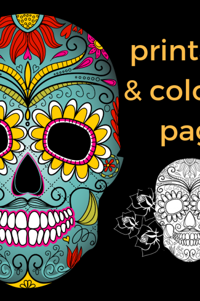 Dia de Los Muertos free printable and coloring page