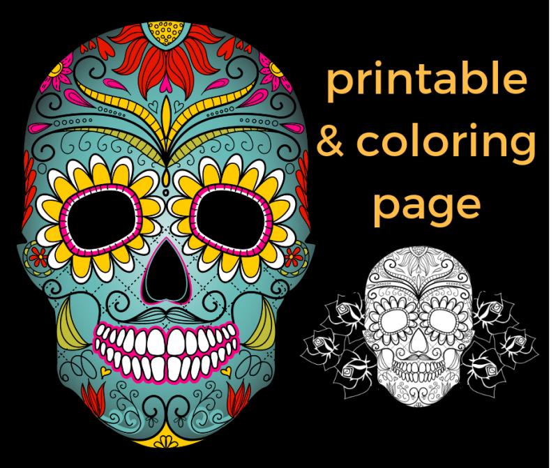 Dia De Los Muertos Free Printable And Coloring Page To