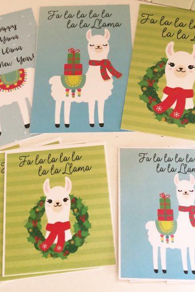 Fa La La La Llama Christmas Printables