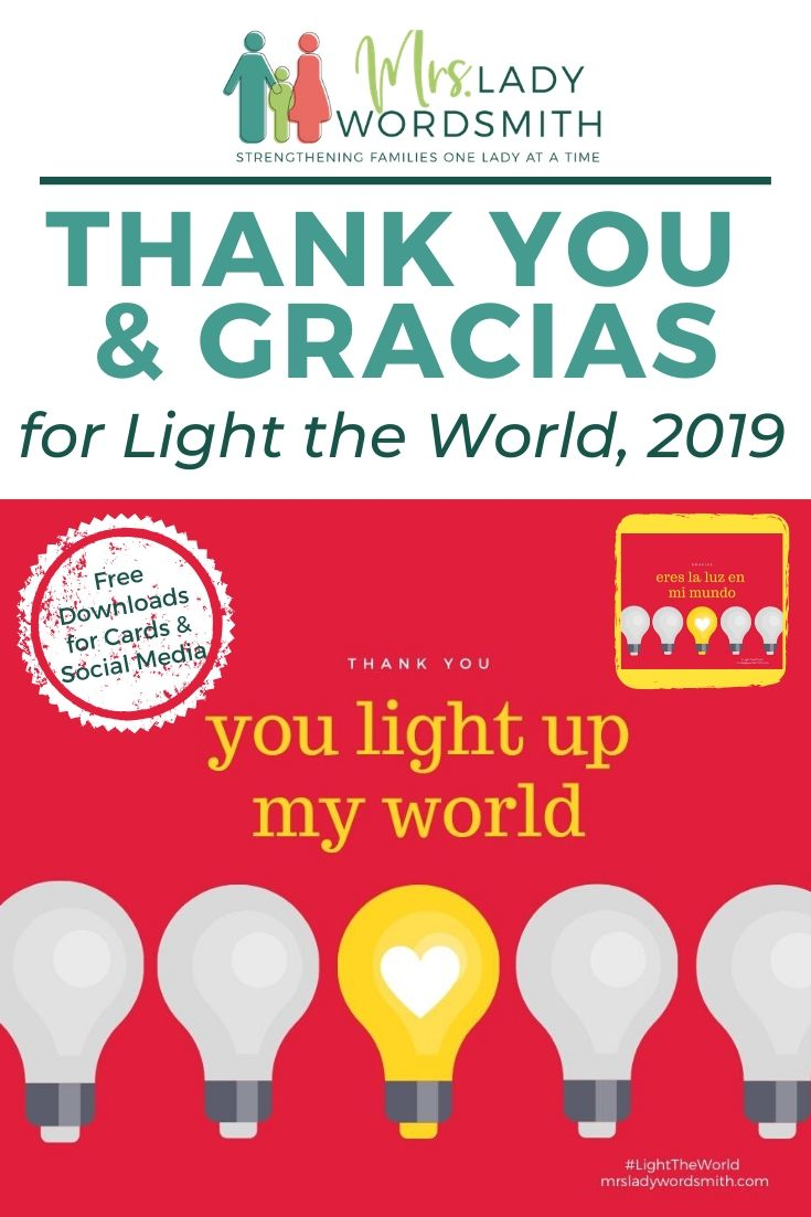 Light the World this December with service to others. These fun, free downloads are the perfect way to thank someone special with a card or on social media. #lighttheworld #lighttheworld2019 #onebyone #comefollowme #lds #jesus #christmas #service