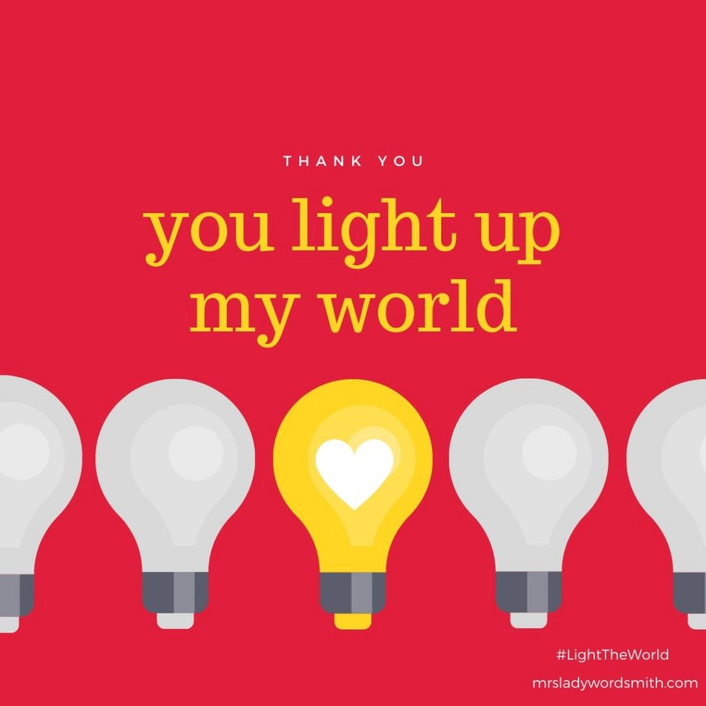Light the World Thank You Card Instagram