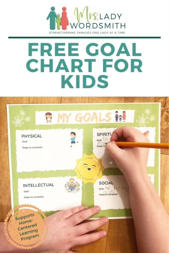 This free goal chart for kids supports the Home-Centered Learning program but may be used by any child who wants to set well-rounded goals. #goals #freeprintable #chart #family #home #learning #lds #mormon #christian #religion #children #kids