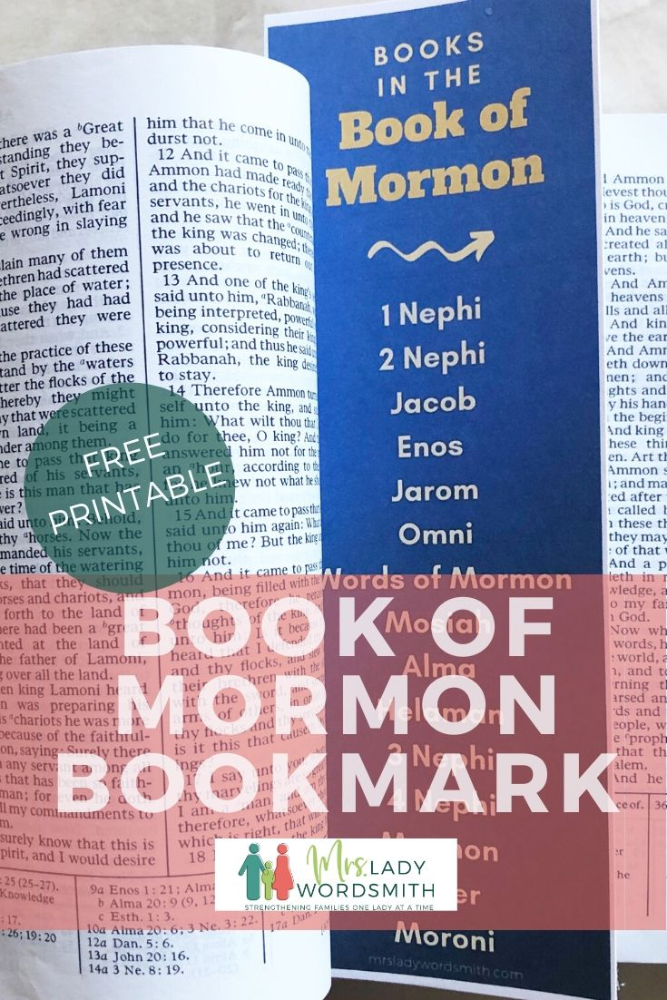 Free Book of Mormon Bookmark. Instant Download.