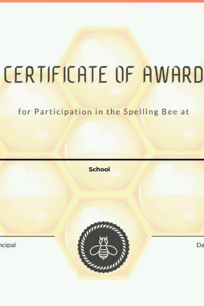 Free Printable Spelling Bee Award Certificate