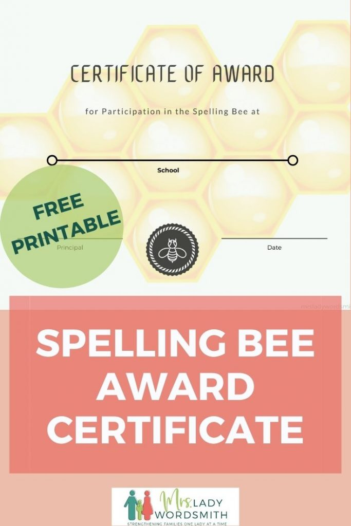 Award spelling bee participants and winners this certificate as a highlight of their accomplishments. Free instant download.