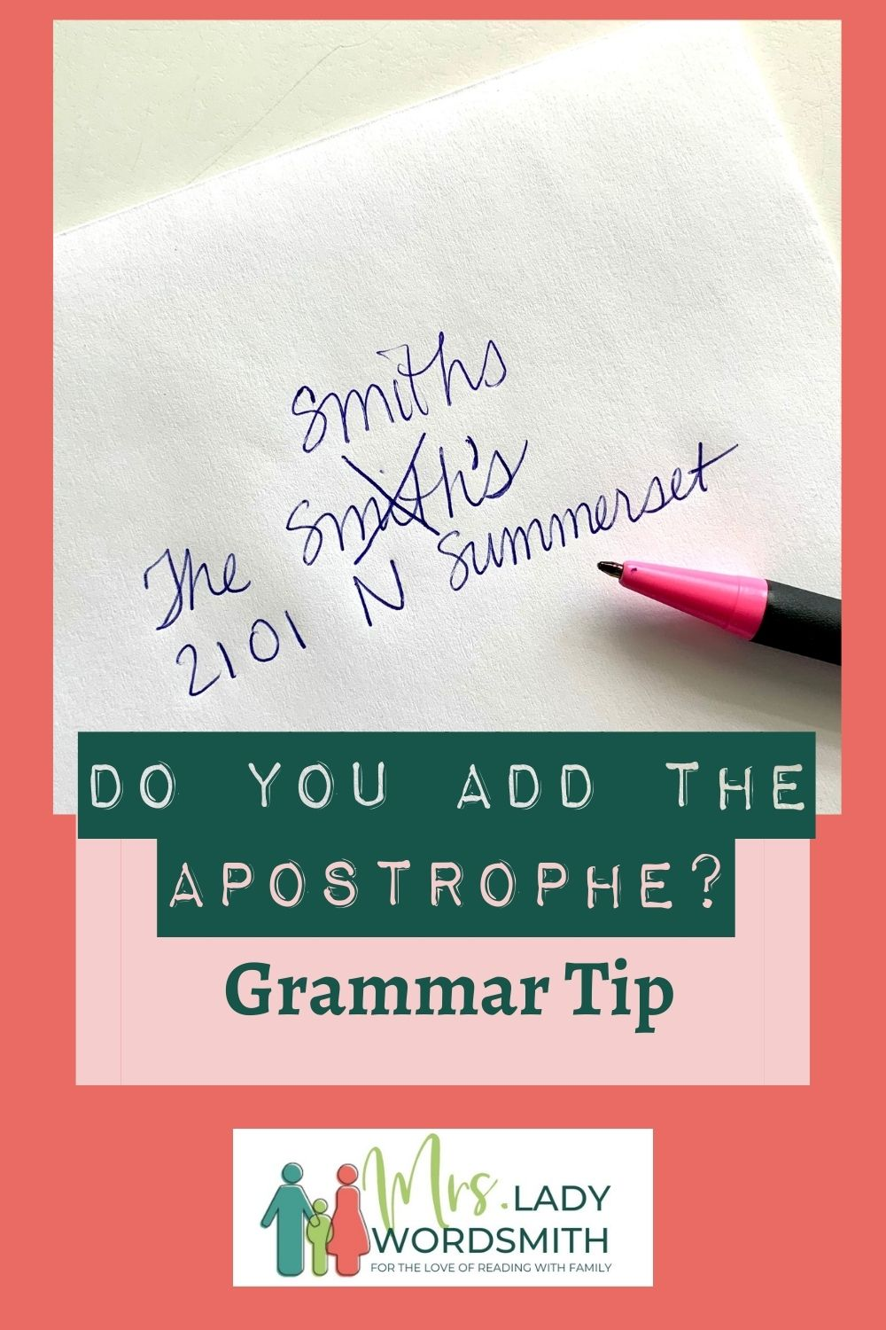 It's time to send out graduation announcements and wedding invitations. But you might be wondering if your last name and those of your guests should be plural or have a comma. You want to be correct. Let me show you how.