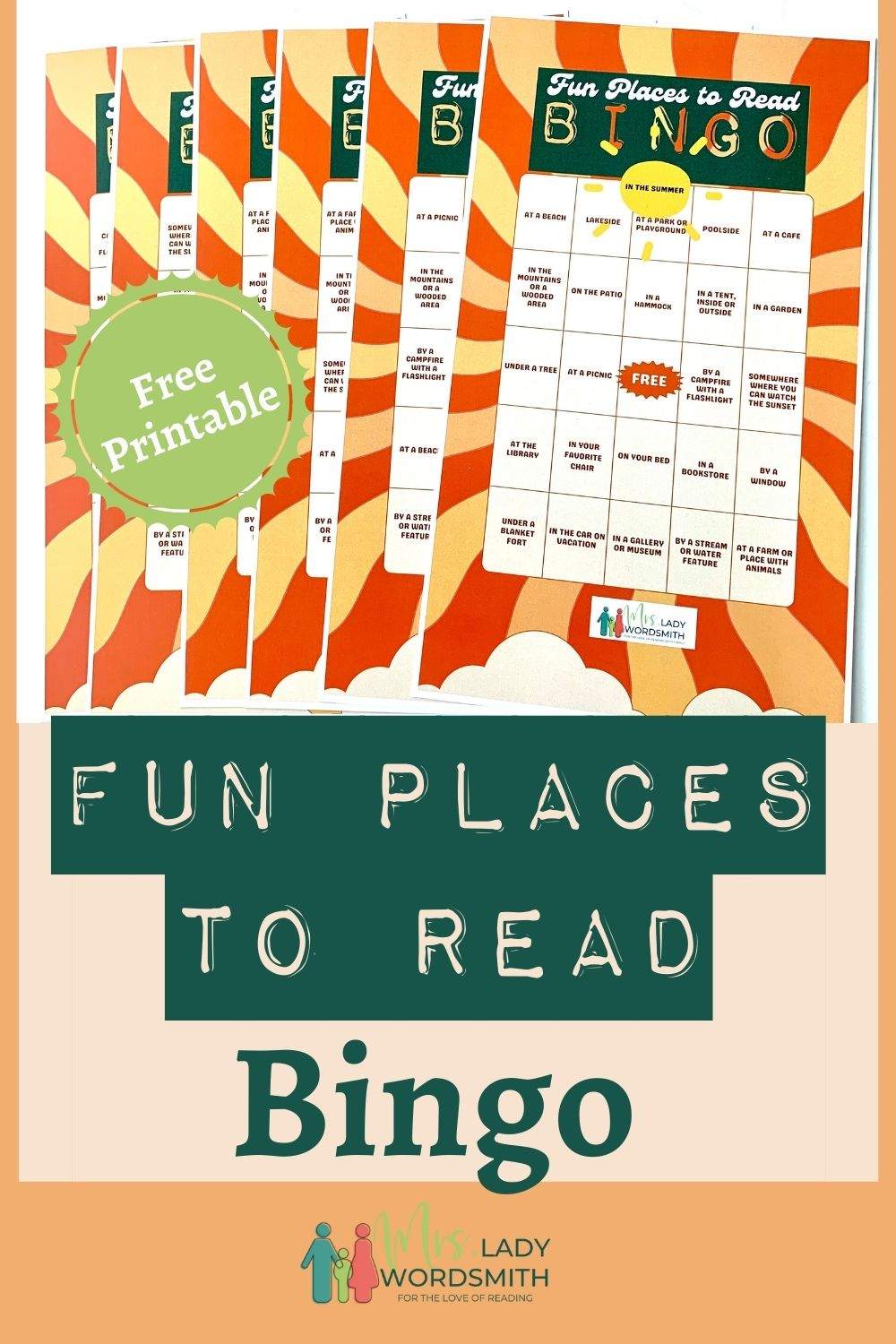 Don't just sit on the couch and read this summer! Explore some fun place to enjoy your next book with this fun, free set of printable bingo cards. Instant Download.